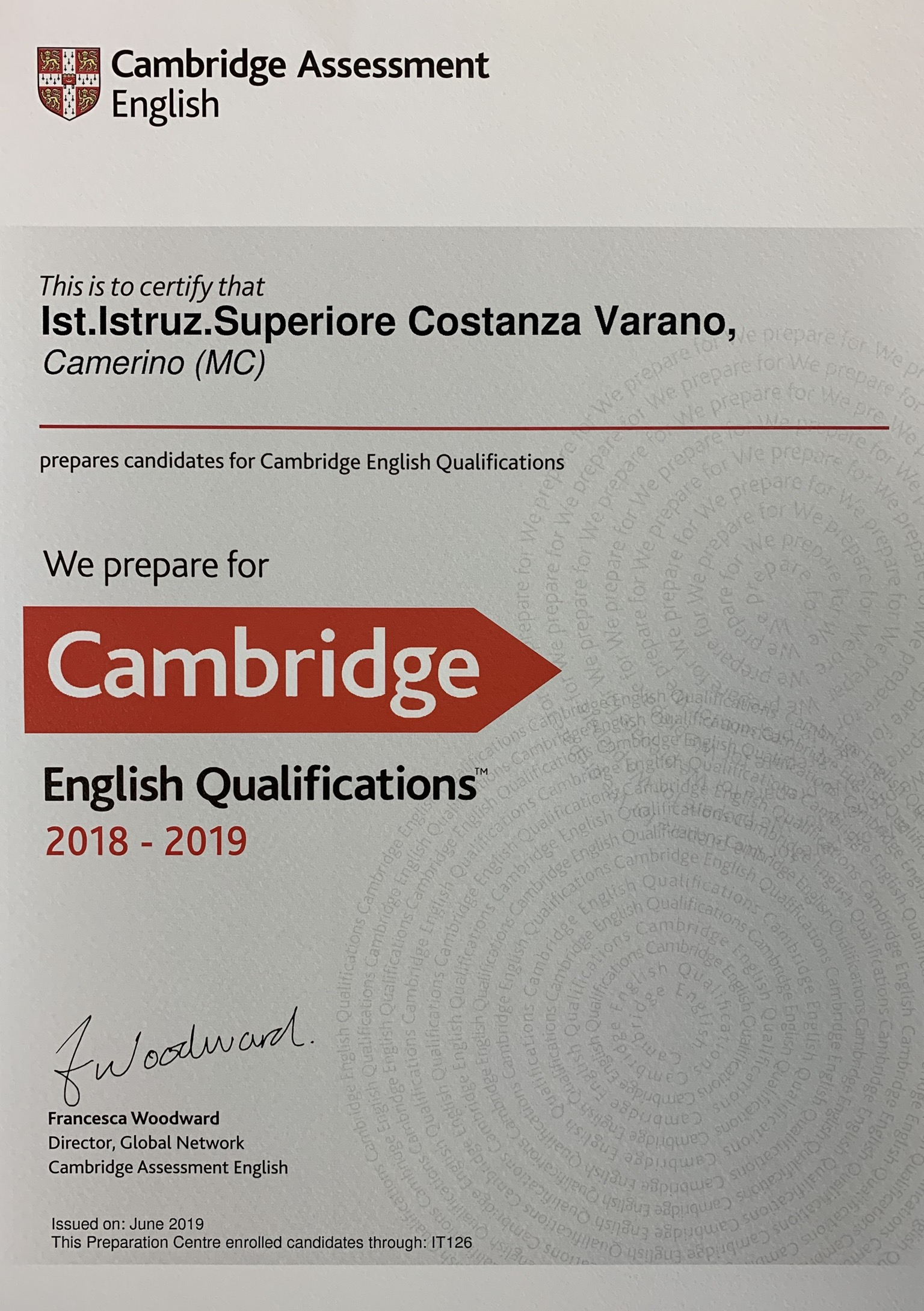 certificato cambridge